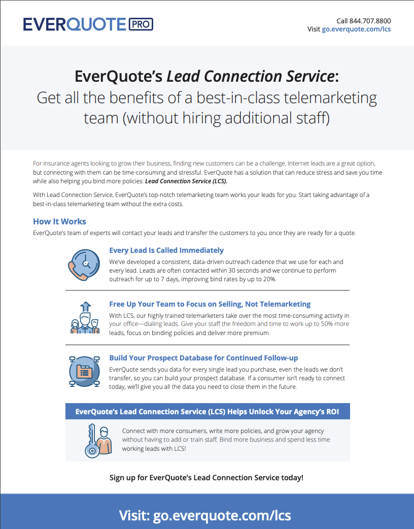 EverQuote Lead Connection Service (LCS) Overview (1-Sheet)