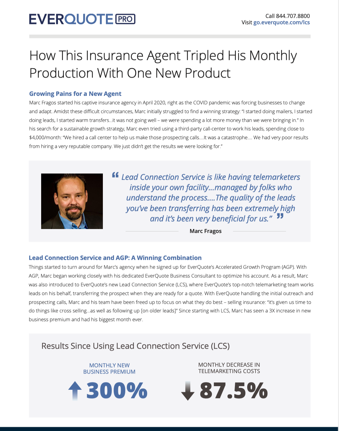 EverQuote Lead Connection Service (LCS) Case Study – Marc Fragos