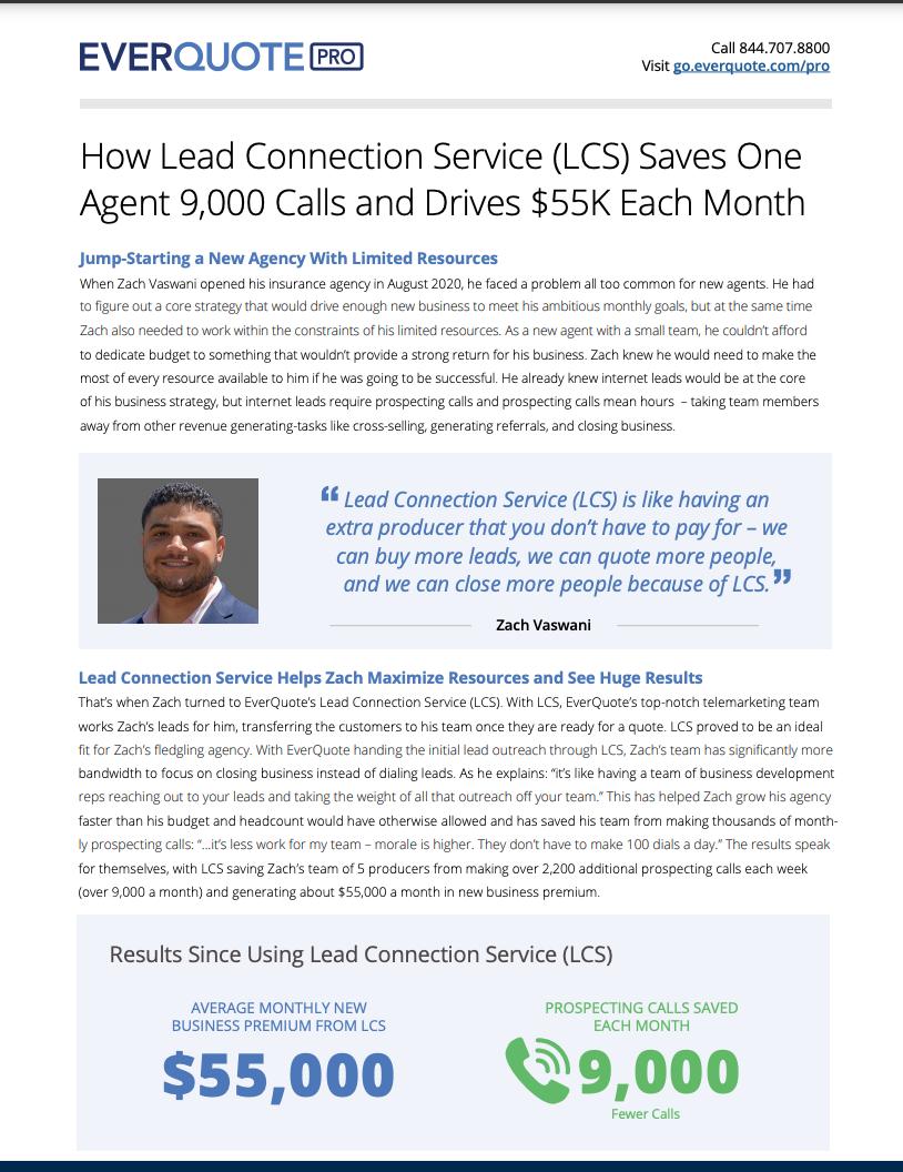 EverQuote Lead Connection Service (LCS) Case Study – Zach Vaswani